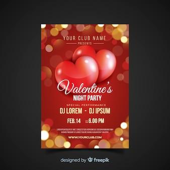 Blurred lights valentine party poster