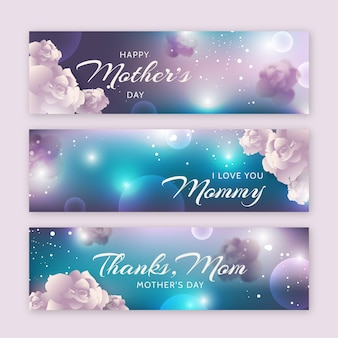 Blurred mother's day banner pack