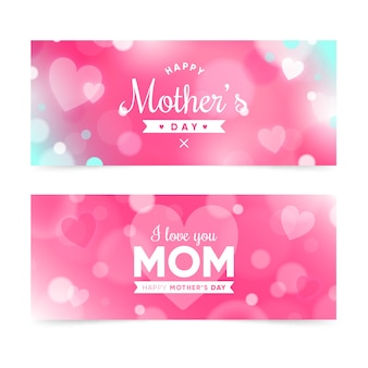 Blurred mother's day banners collection