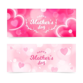 Blurred mother's day banners set