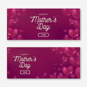 Blurred mother's day banners with greeting