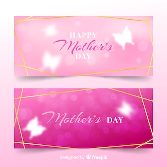Blurred mother's day banners