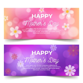 Blurred mothers day banners