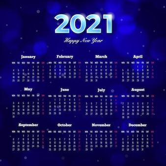 Blurred new year 2021 calendar