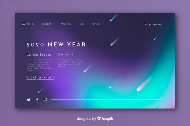 Blurred new year landing page and shooting stars