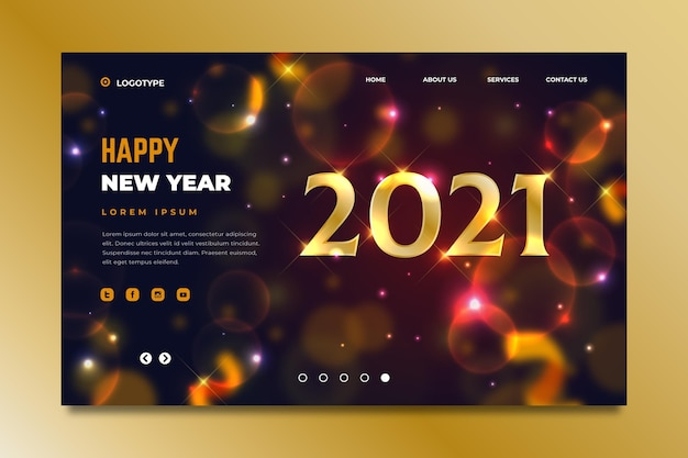 Blurred new year landing page template