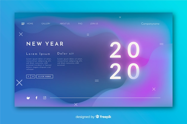 Blurred new year landing page with liquid effect