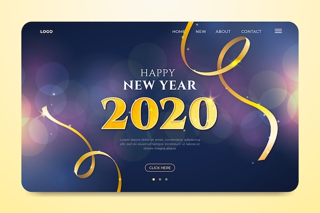 Blurred new year landing page Premium Vector