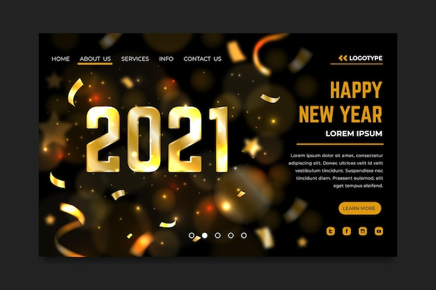 ぼやけた新年のランディングページ