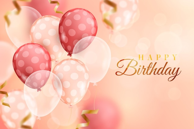 Blurred realistic birthday balloons background