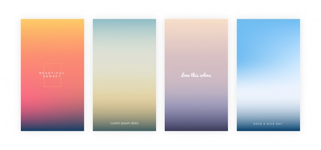Blurred seasonal gradient background set