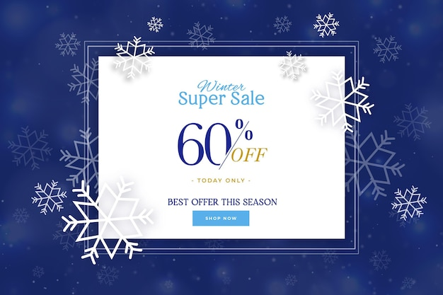 Blurred snowflakes in the night colourswinter sale