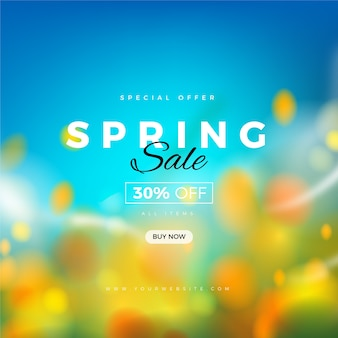Blurred spring promotional sale concept