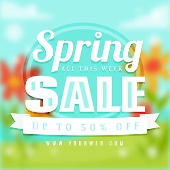 Blurred spring sale banner