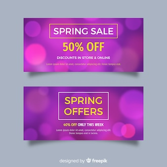 Blurred spring sale banners