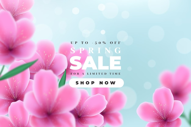 Blurred spring sale with violet flowers and sky