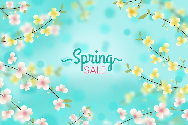 Blurred spring sales floral background