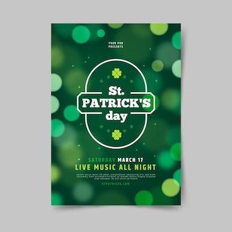 Blurred st. patrick's day poster template