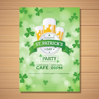 Blurred st patricks day poster template