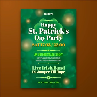 Blurred st. patrik day poster template
