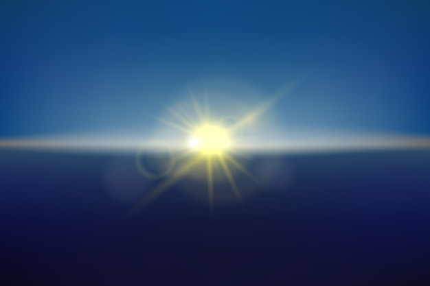 Blurred sunlight in the sky, realistic illustration