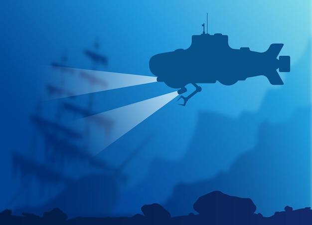 Размытый подводный фон с синим силуэтом подводной лодки и старым затонувшим кораблем. векторная иллюстрация eps10.