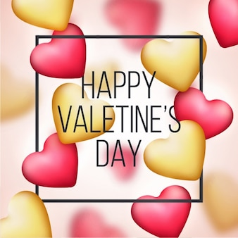 Blurred valentine's background with pink and golden hearts