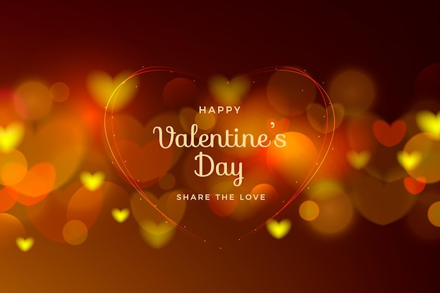 Blurred valentine's day background with hearts