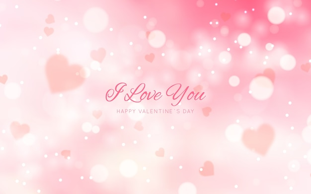 Blurred valentine's day background with message