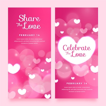 Blurred valentine's day banners collection