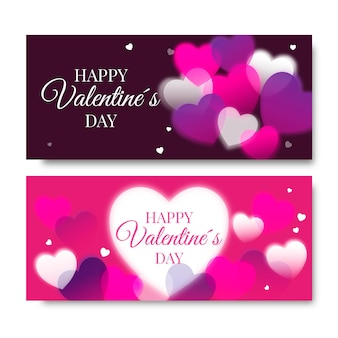 Blurred valentine's day banners set