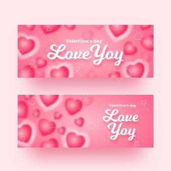 Blurred valentine's day banners set