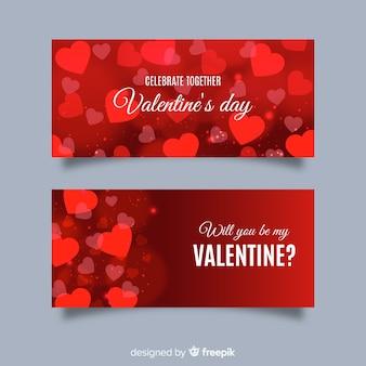 Blurred valentine's day banners