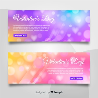 Blurred valentine's day banners