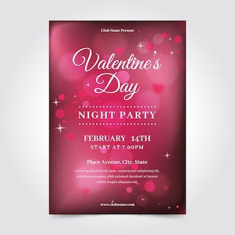 Blurred valentine's day flyer poster template
