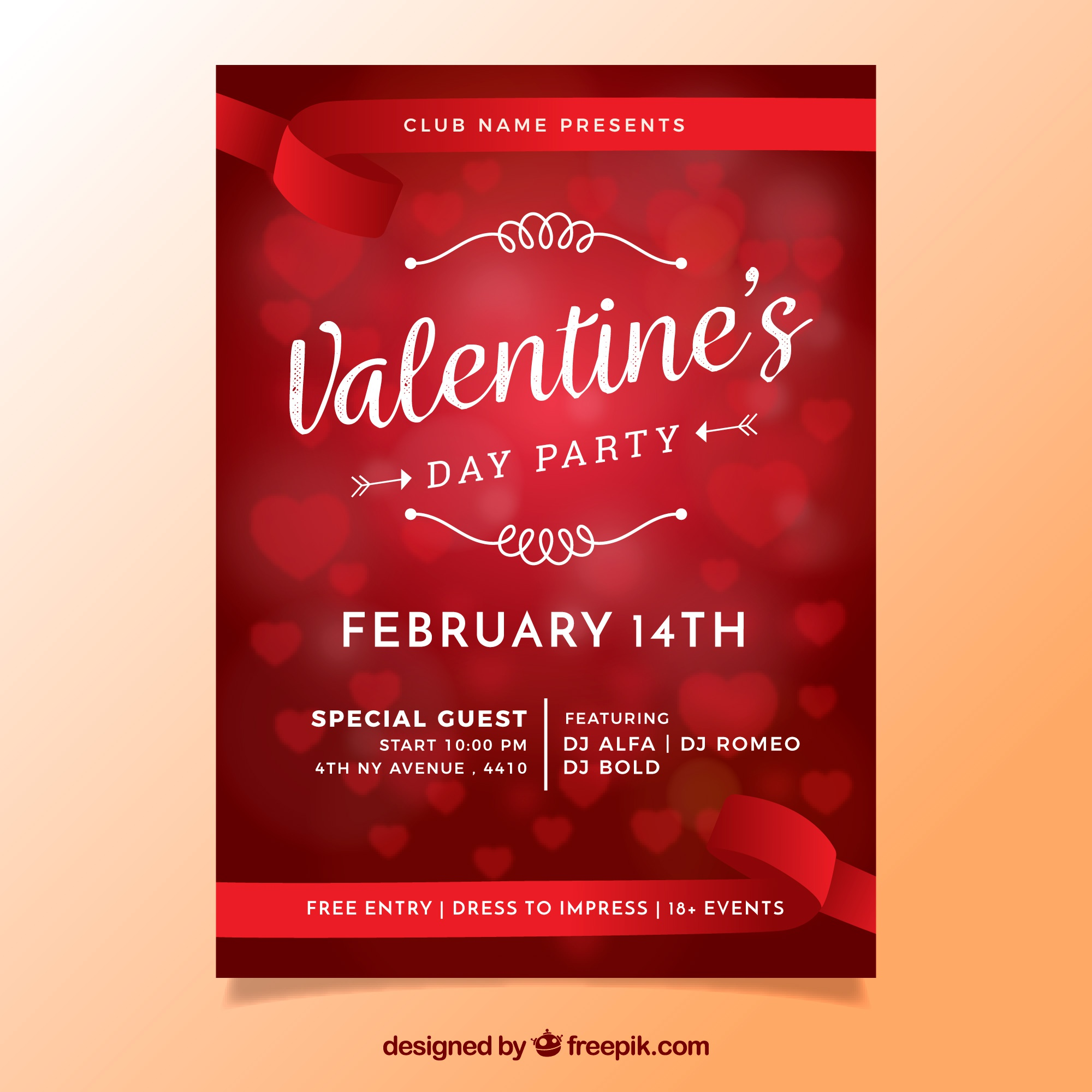 Blurred valentine's day flyer / poster with hearts