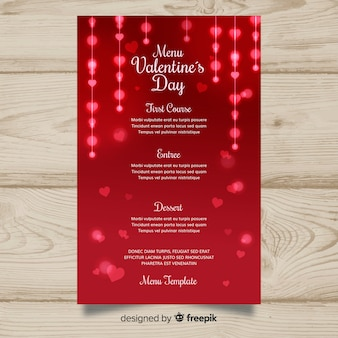 Blurred valentine's day menu template