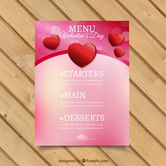 Blurred valentine's day menu with decorative hearts
