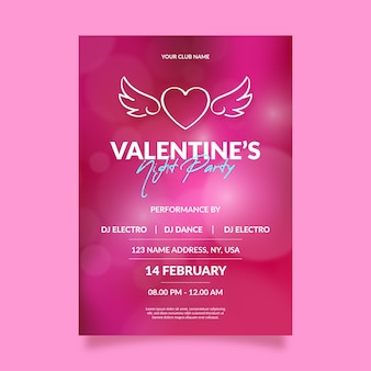 Blurred valentine's day party flyer template