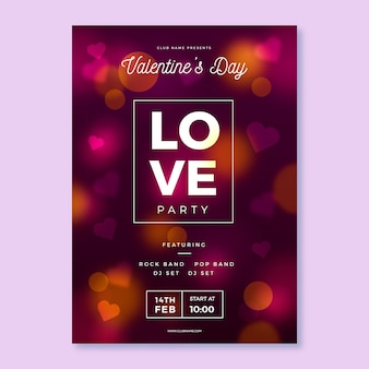 Blurred valentine's day party poster