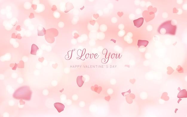 ぼやけたバレンタインデーのピンクの背景