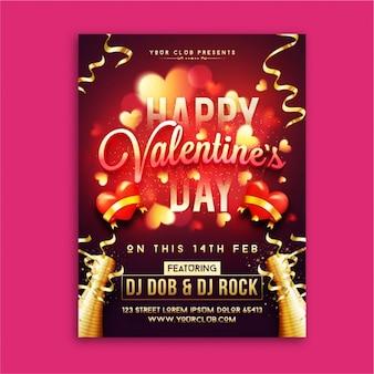 Blurred valentine's day poster with golden streamer