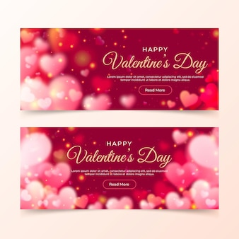 Blurred valentines day banners template