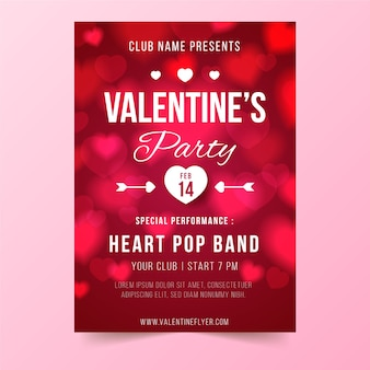 Blurred valentines day flyer template