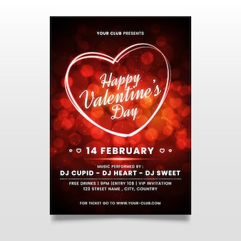 Blurred valentines day party poster template