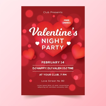 Blurred valentines day party poster