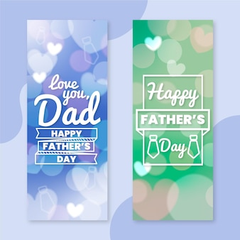 Blurred vertical father's day banners