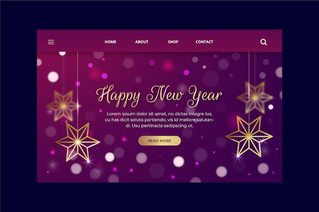 Blurred violet new year landing page