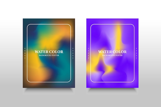 Blurred water color poster background with minimalist style. modern geometric trend abstract set.