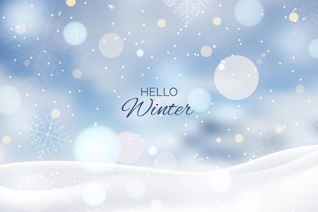 Blurred winter background with greeting